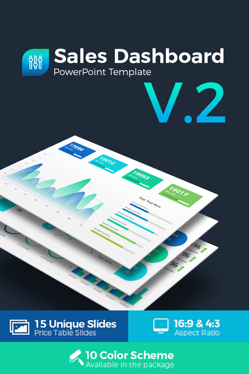 Sales Dashboard Presentation PowerPoint Template - screenshot