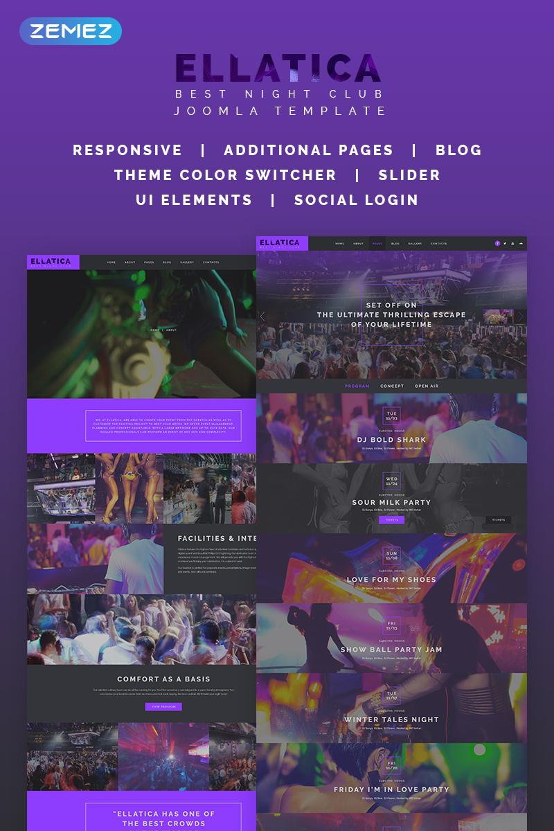 "Tema Joomla Responsive #68763 ""Ellatica - Nightclub"""