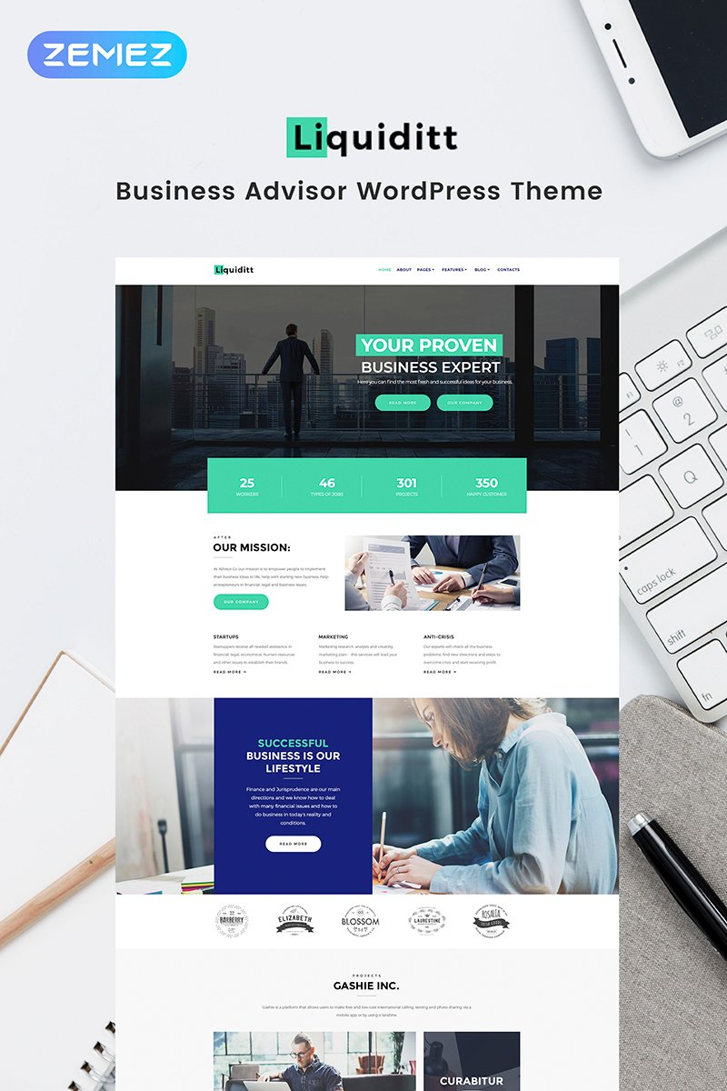 "Tema WordPress Responsive #68712 ""Liquiditt - Business Consulting Elementor"" - screenshot"