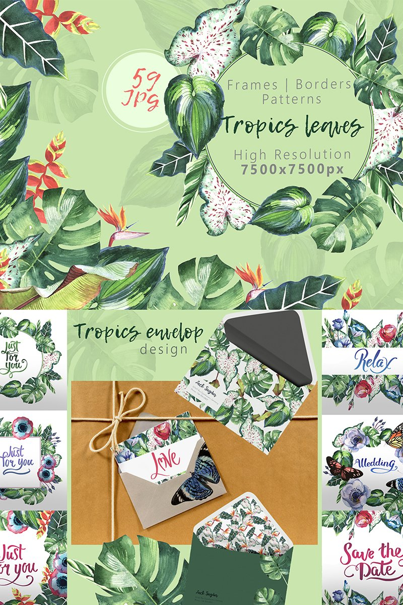 Tropics Leaves JPG Watercolor Set Illustration