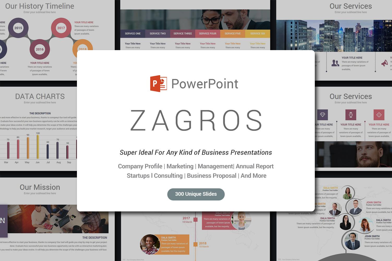 """""""Zagros"""" modèle PowerPoint Premium #68714"""
