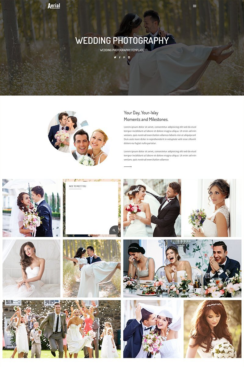 """""""Aerial - Wedding Photography"""" Responsive Website template №68821"""