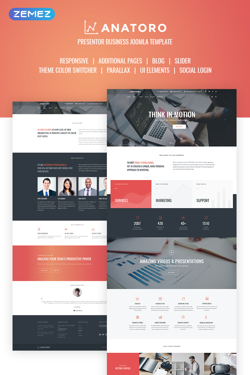 Anatoro - Consulting IT & Presentor Sleek Business Joomla Template