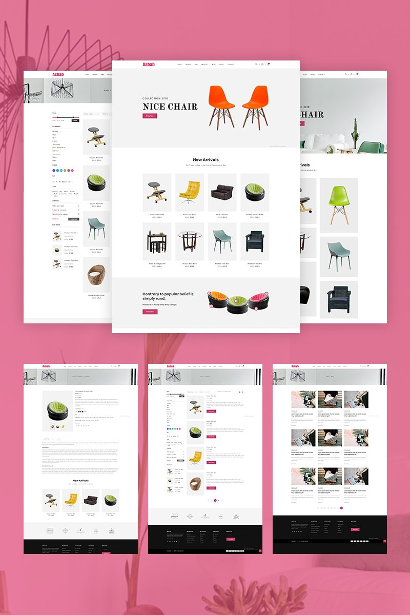 """Asbab - eCommerce"" Responsive Website template №68847 - screenshot"
