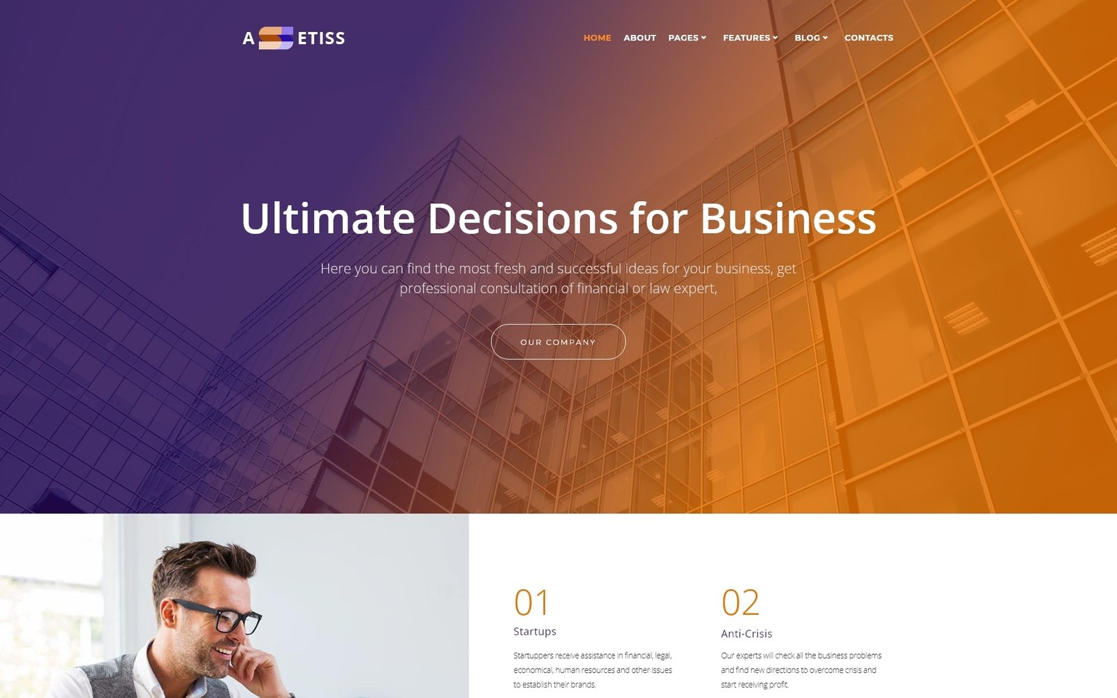 Assetiss - Modern Business Advisor Elementor WordPress Theme - screenshot