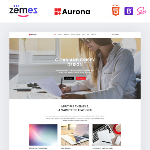 Aurona - Business Responsive HTML - Landing Page Template based on Bootstrap