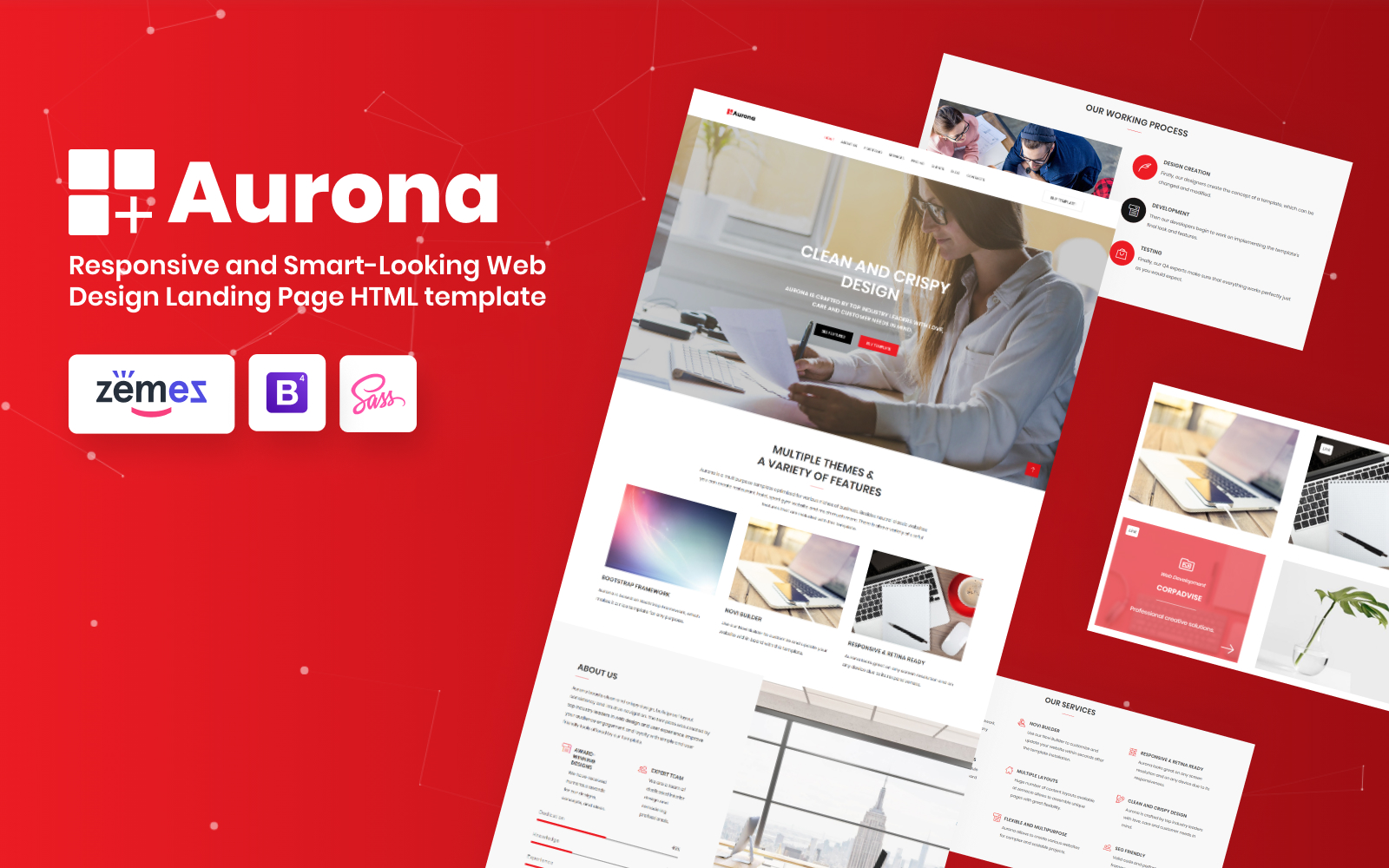 """Aurona - Business Responsive HTML"" Responsive Landingspagina Template №68859"