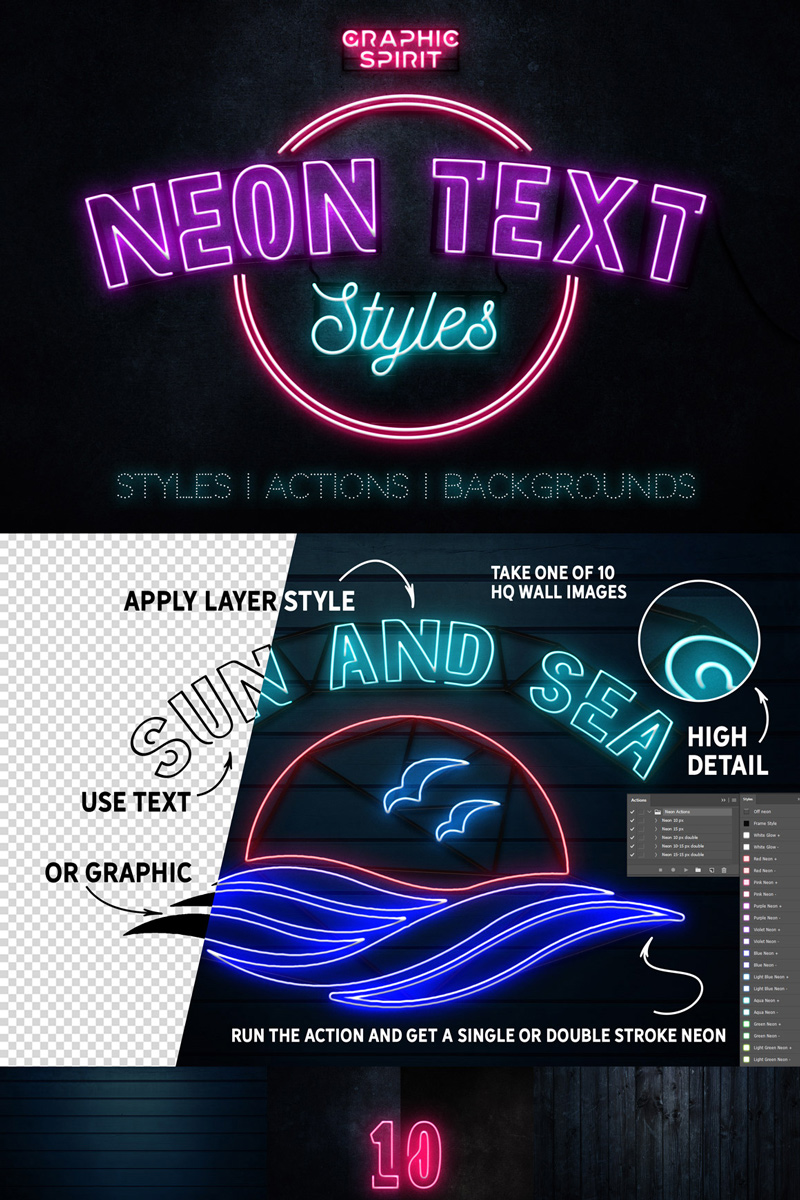 Bundle Neon Text Layer Styles & Extras #68831