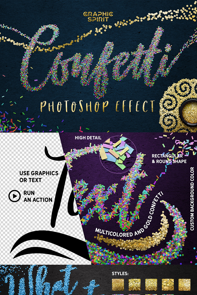 """Confetti - Photoshop Effect Toolkit"" Bundle №68845"
