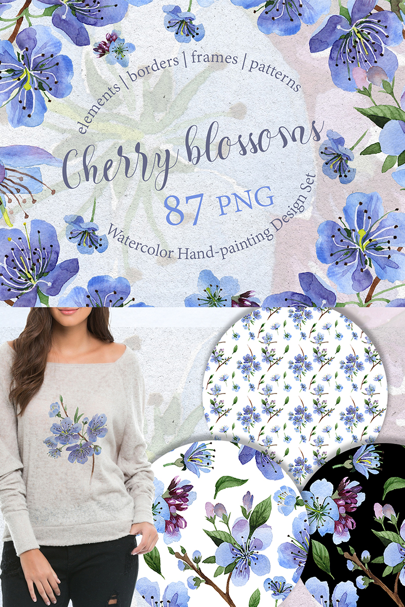 "Ilustración ""Cherry Blossoms - PNG watercolor"" #68874"