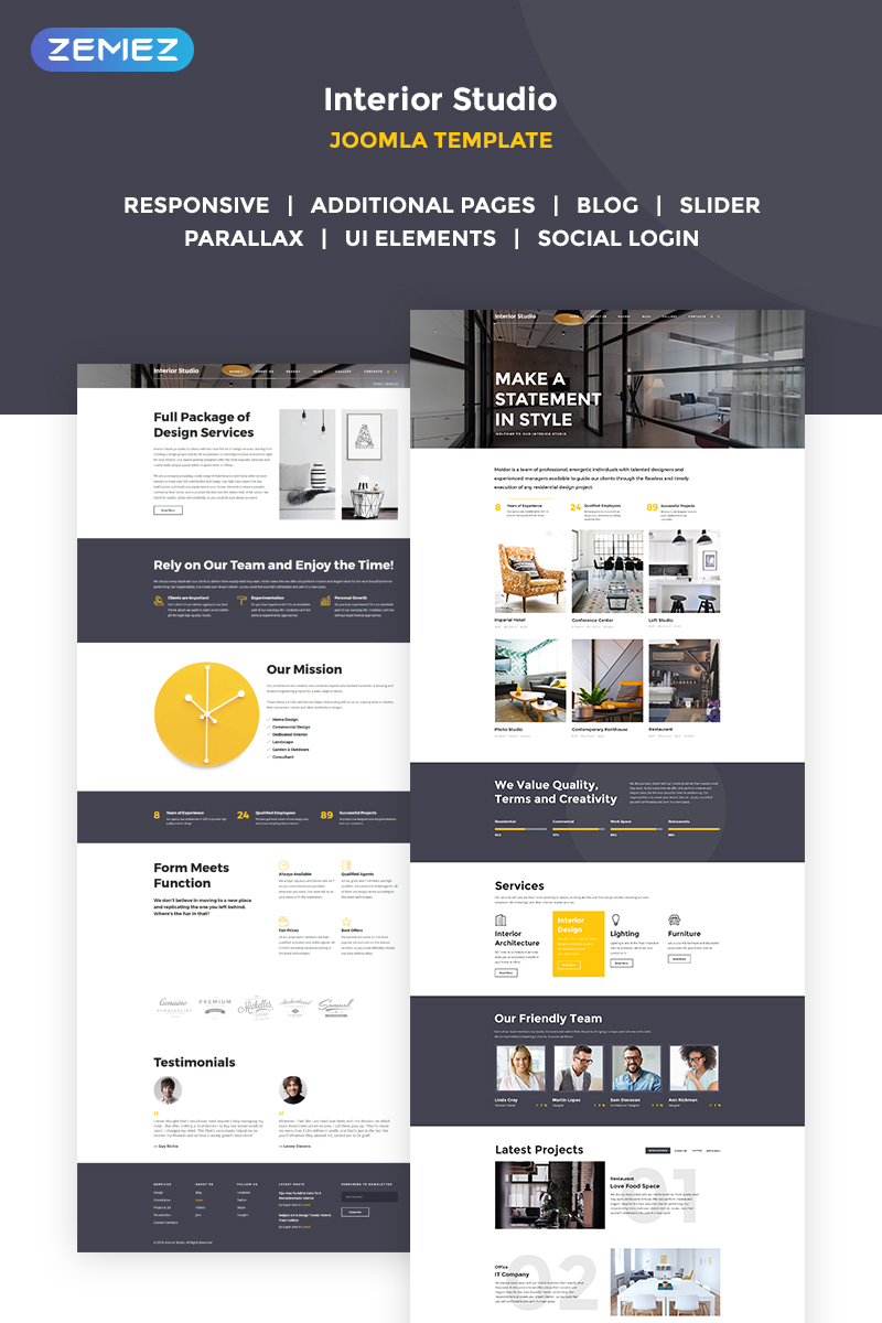 "Joomla Vorlage namens ""Distinctive Interiors - Interior Design & Construction Agency"" #68826"