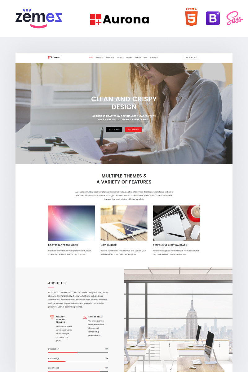 """Landing Page Template namens """"Aurona - Business Responsive HTML"""" #68859"""
