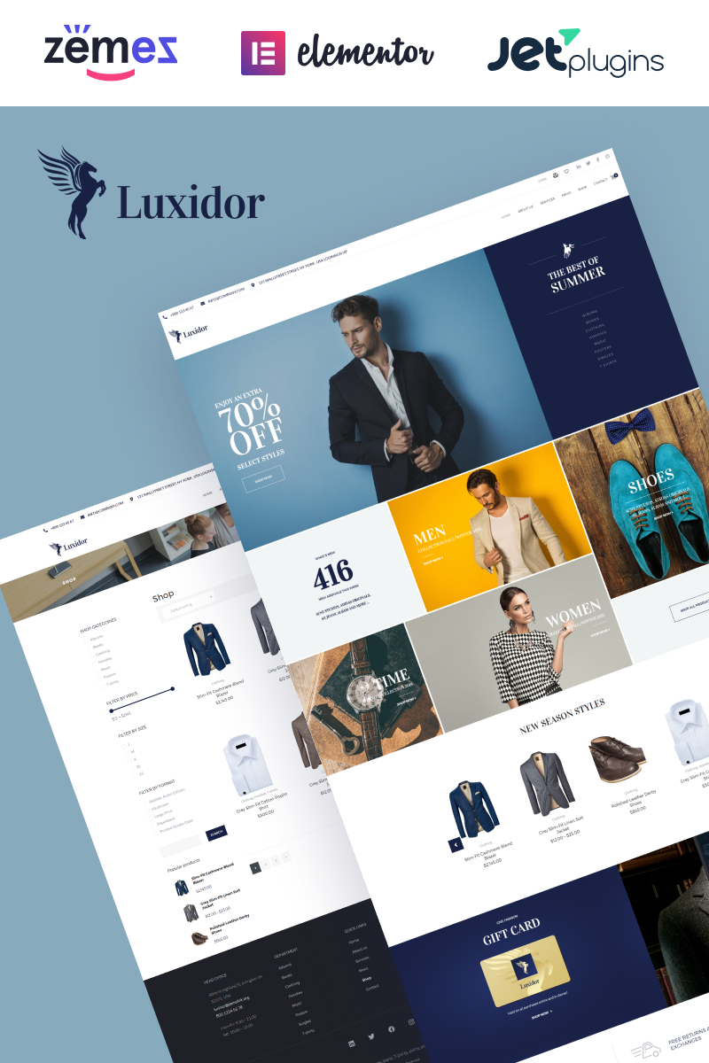 """Luxidor - Accessories and Apparel Fashion Elementor"" thème WooCommerce adaptatif #68841"
