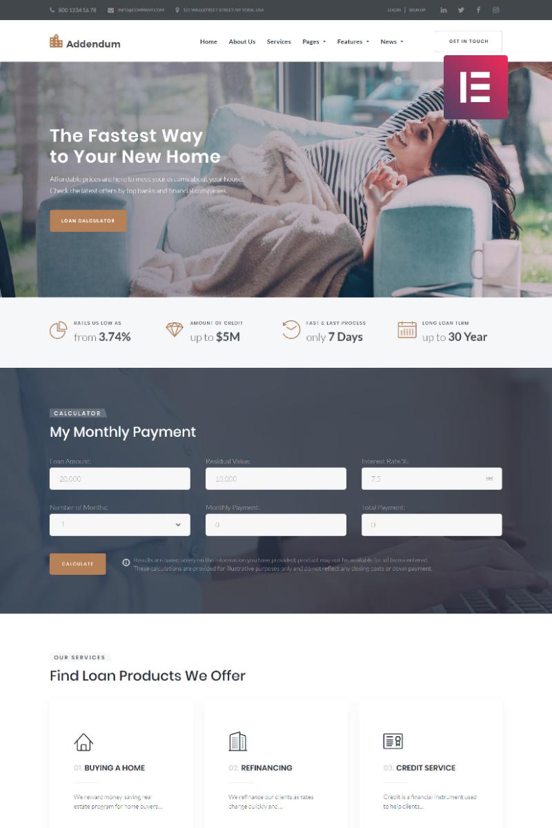 "Modello WordPress Responsive #68843 ""Addendum - Mortgage Company Elementor"""