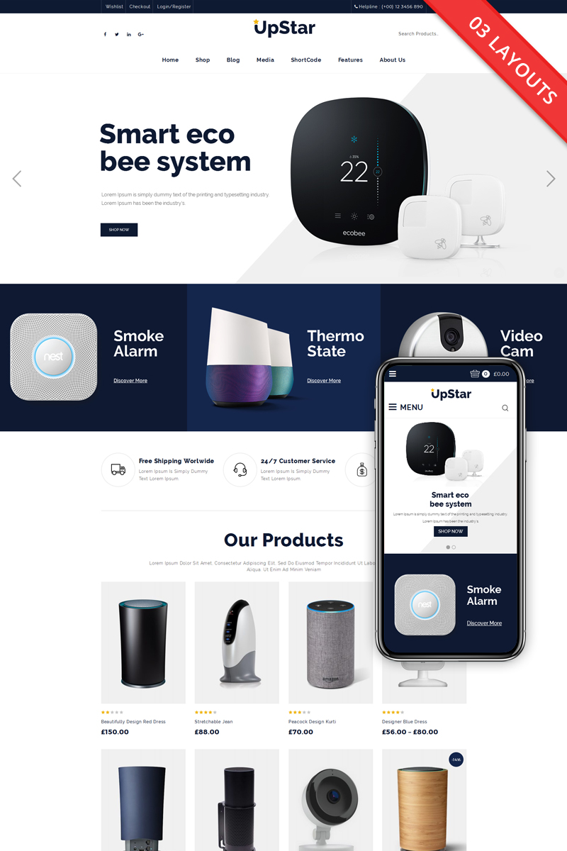 Motyw WooCommerce UpStar Multipurpose Store #68875