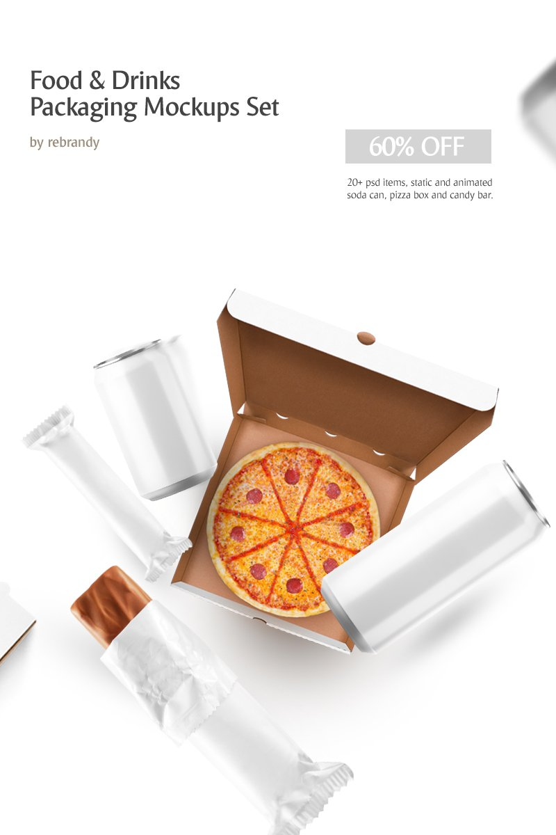 "Paquete ""Food & Drinks Packaging mockup set"" #68881 - captura de pantalla"