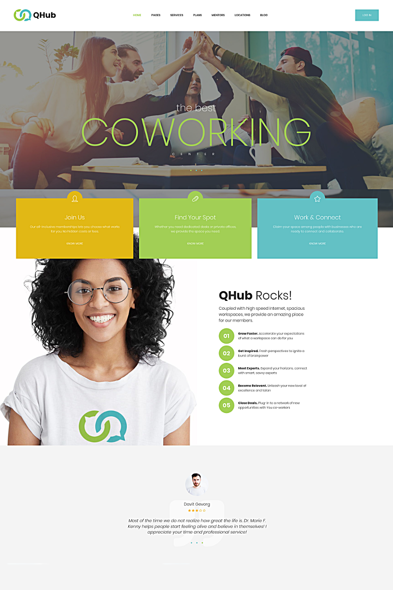 """""""Qhub - Coworking and Office Space"""" Responsive WordPress thema №68818"""