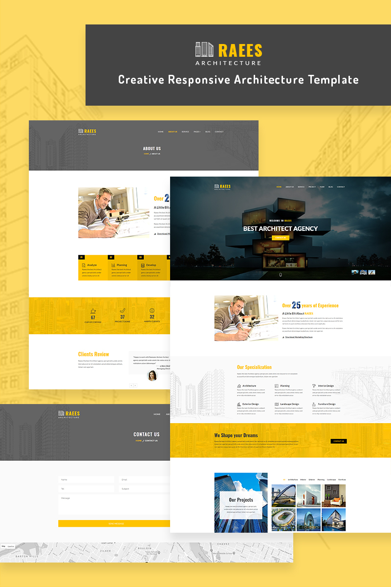 Raees Responsive Architecture Architect Website Template 68819 Big