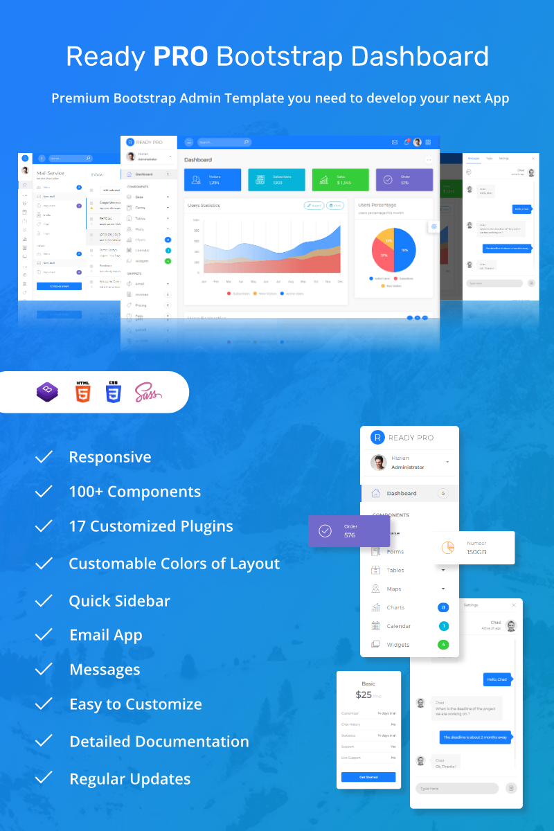 """""""Ready Pro Bootstrap Dashboard"""" Responsive Admin Template №68899"""