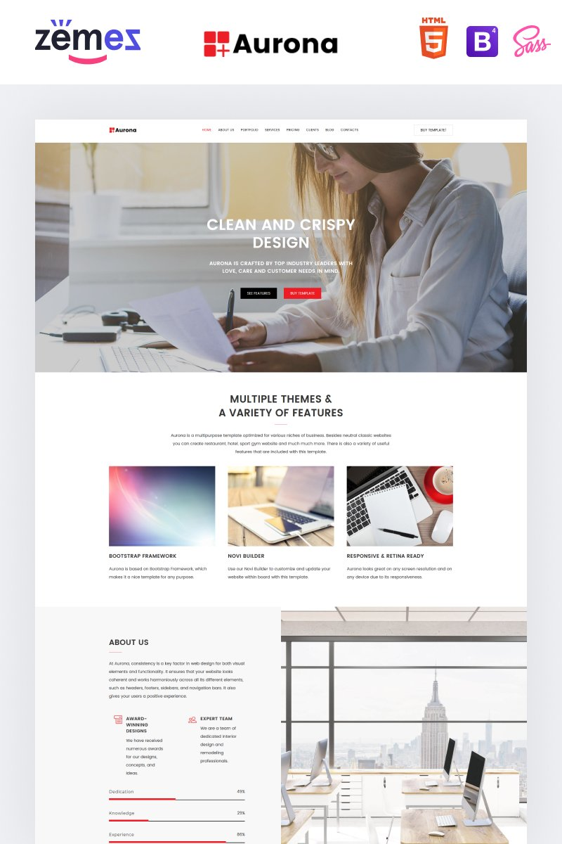 """Responzivní Šablona mikrostránek """"Aurona - Business Responsive HTML"""" #68859"""