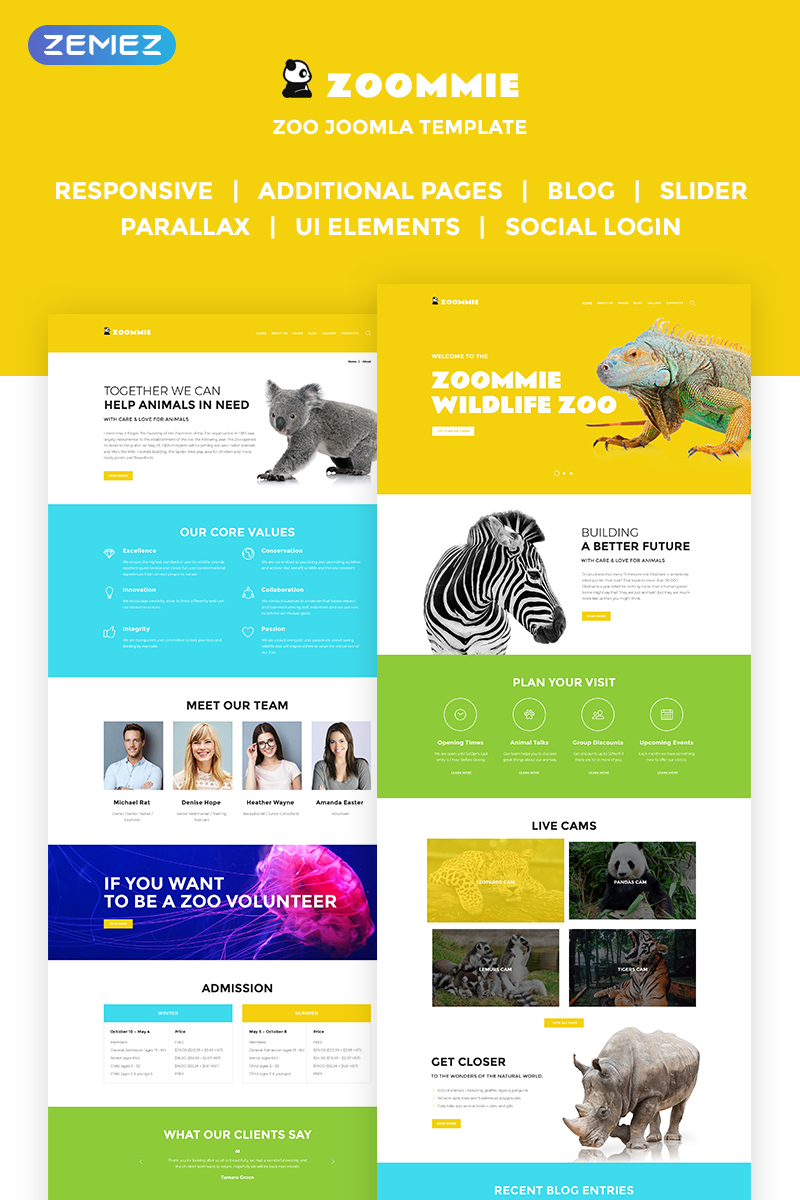 Reszponzív Zoomie - Wildlife Zoo Joomla sablon 68897