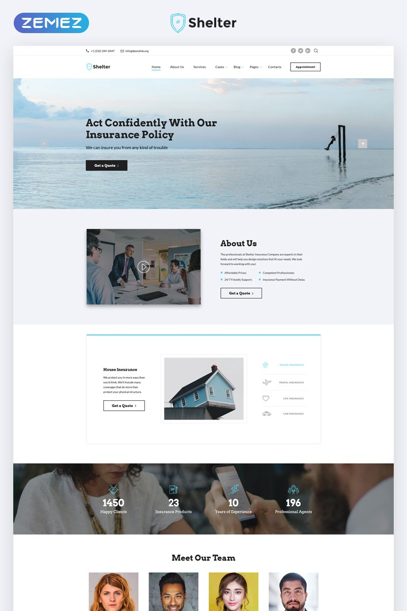 """""""Shelter - Insurance Agency Multipage HTML5"""" Responsive Website template №68840"""