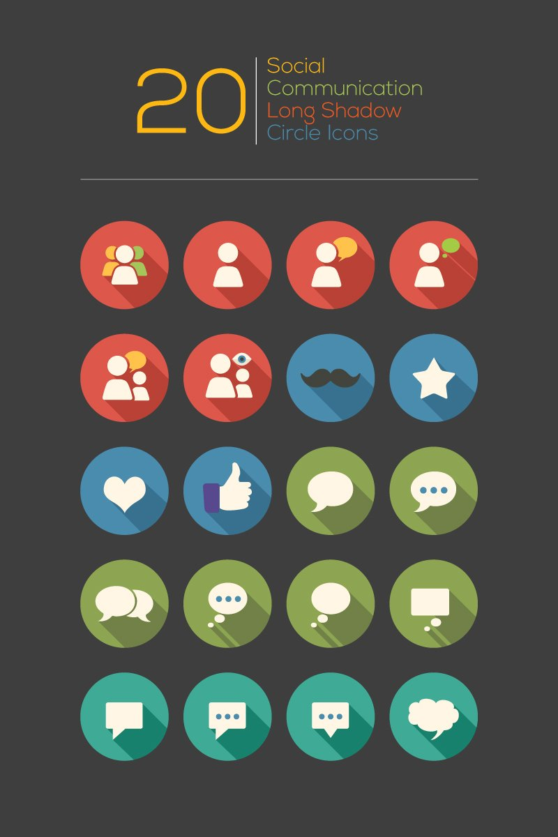 Social Communication Long Shadow Circle Iconset Template