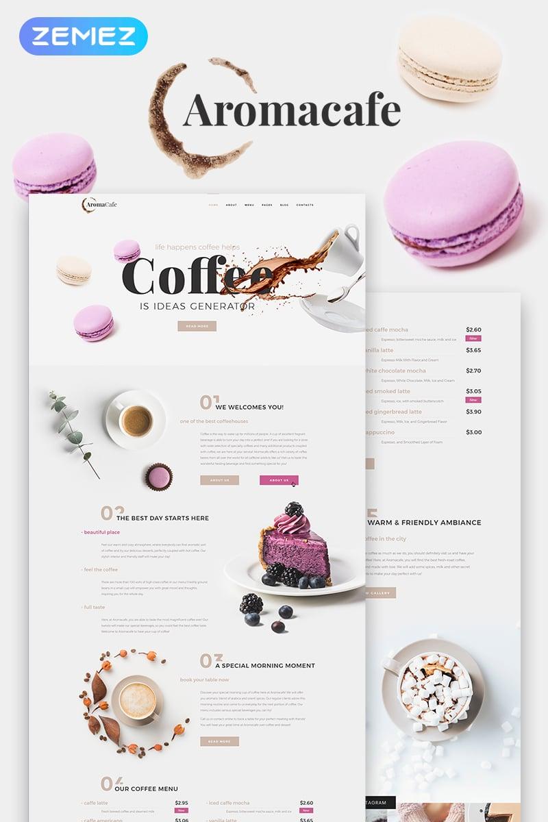 "Template WordPress Responsive #68842 ""Aromacafe - Coffee Shop Elementor"""