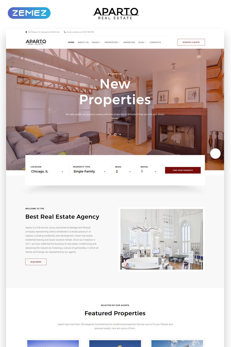 "Website Vorlage namens ""Aparto - Real Estate Responsive Multipage HTML"" #68858"