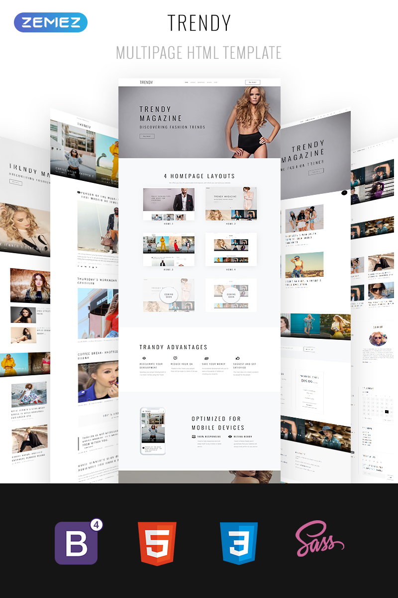 "Website Vorlage namens ""Trendy - Fashion Magazine Multipage HTML5"" #68839"