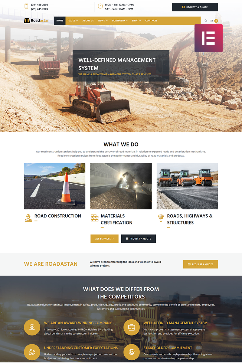 Roadastan - Road Construction Elementor WordPress Theme