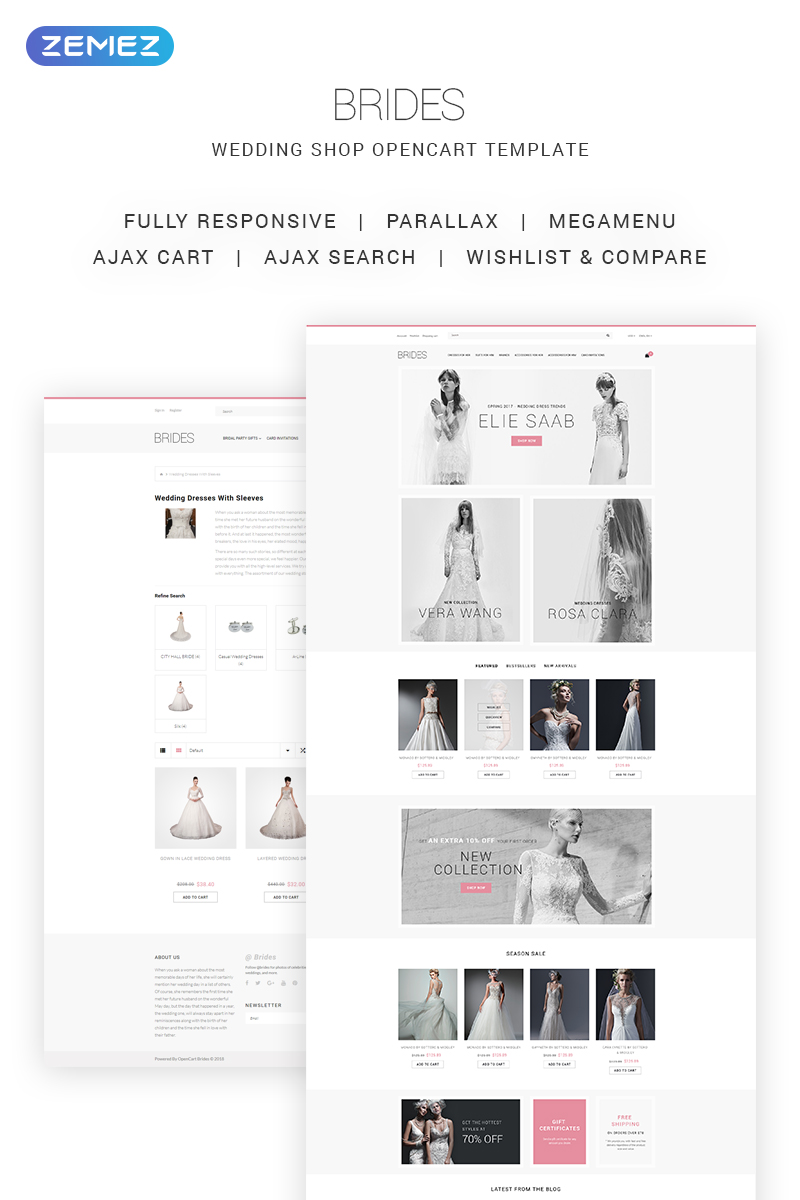 """""""Brides - Wedding Shop"""" thème OpenCart adaptatif #68952"""