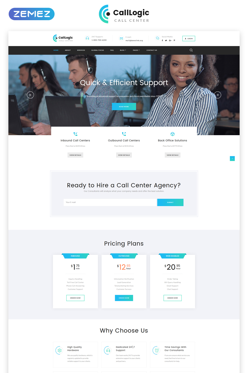CallLogic - Call Center Multipage HTML5 №68953