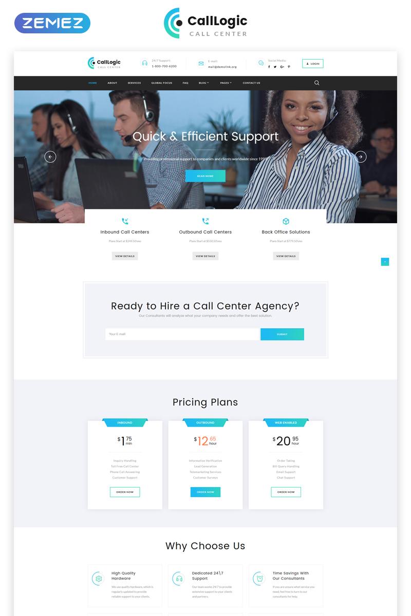 """CallLogic - Call Center Multipage HTML5"" Responsive Website template №68953"