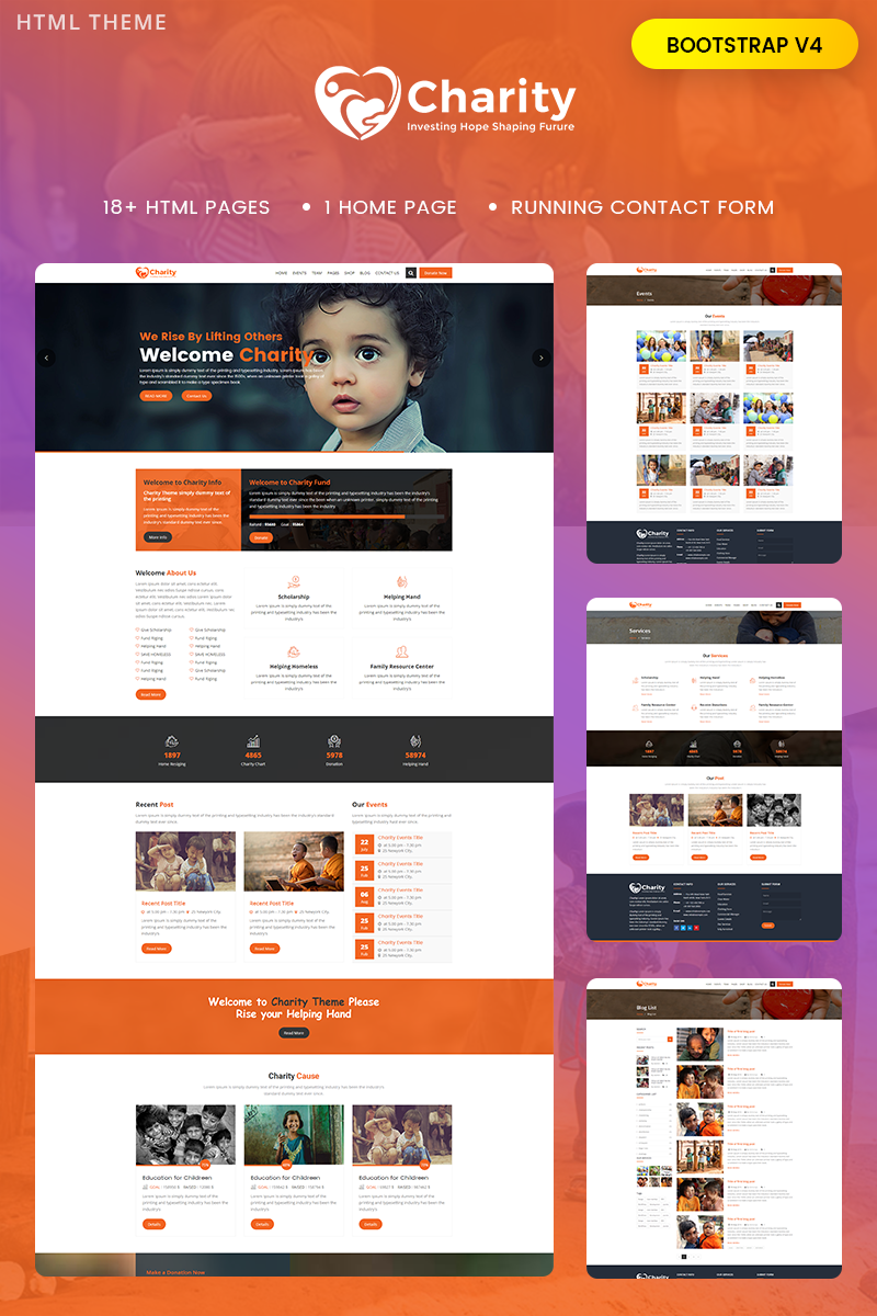 """""""Charity : Crowd fund, Non Profit"""" Bootstrap Website template №68962"""