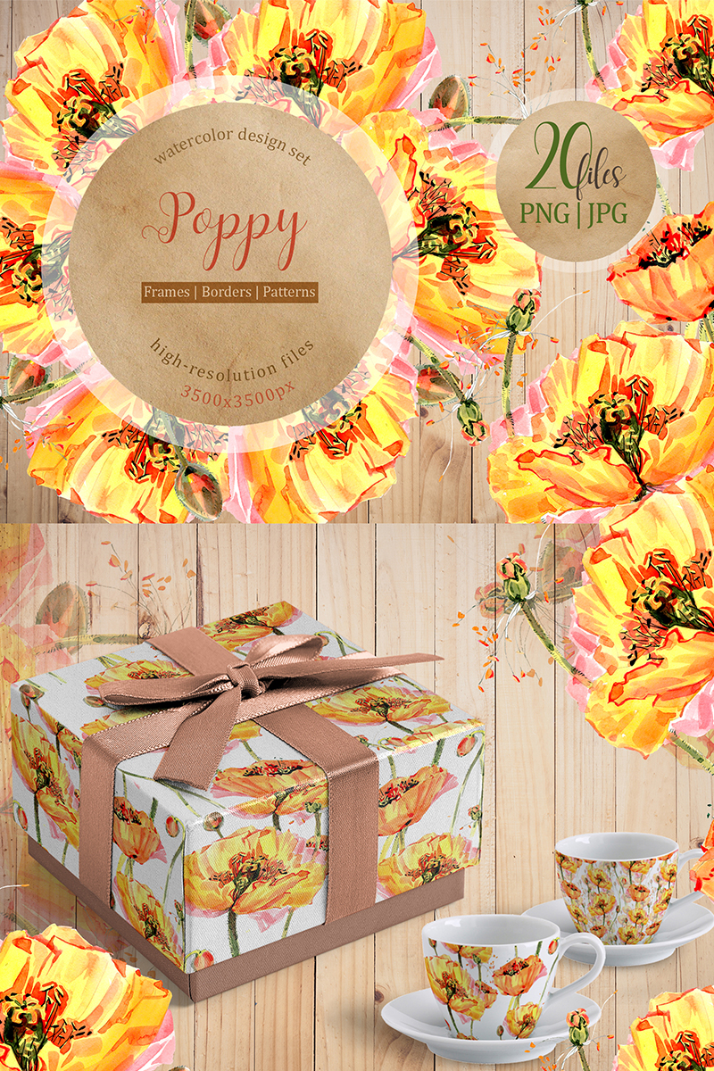 Cool Yellow Poppies PNG Watercolor Set Illustration