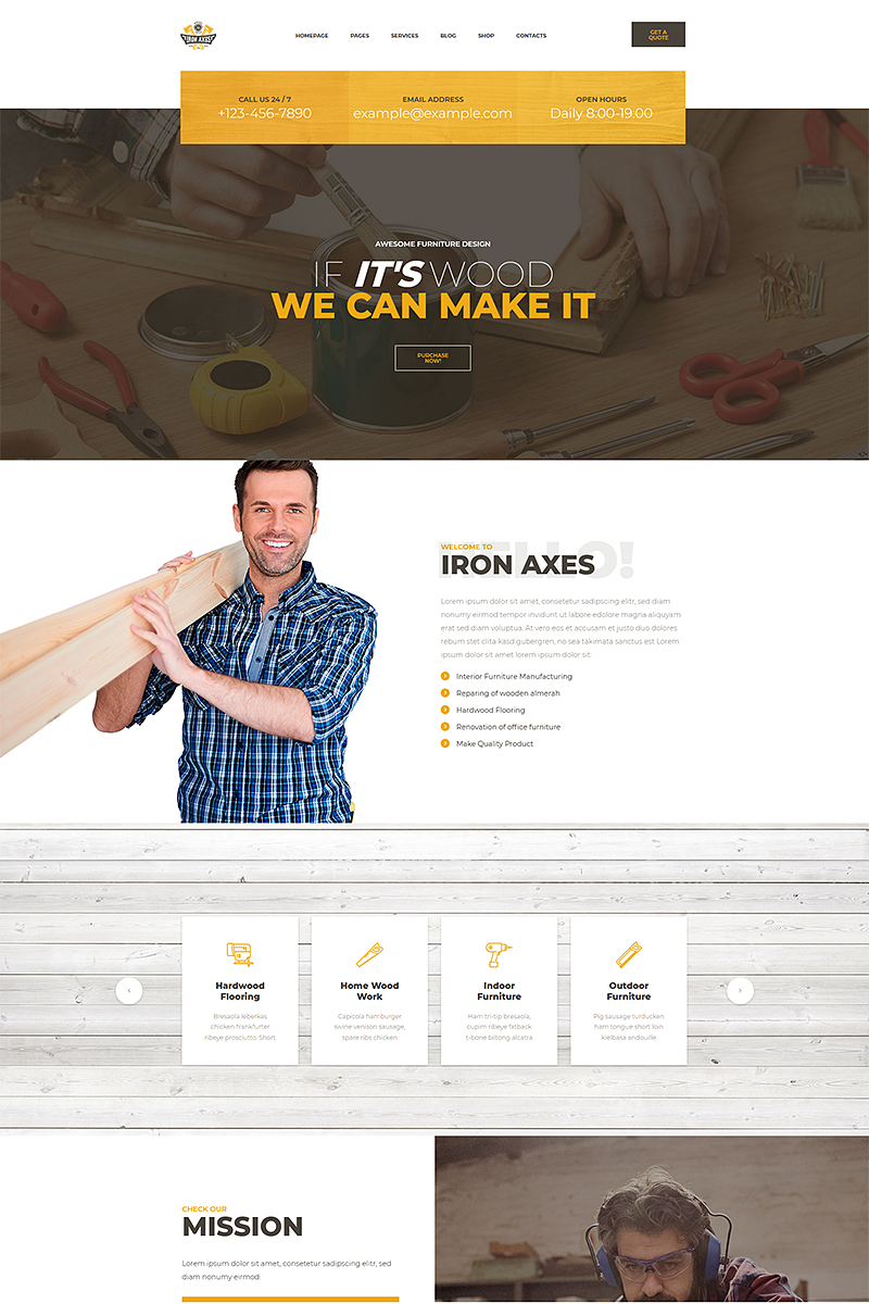 IronAxe Carpentry and Woodwork Template Web №68901