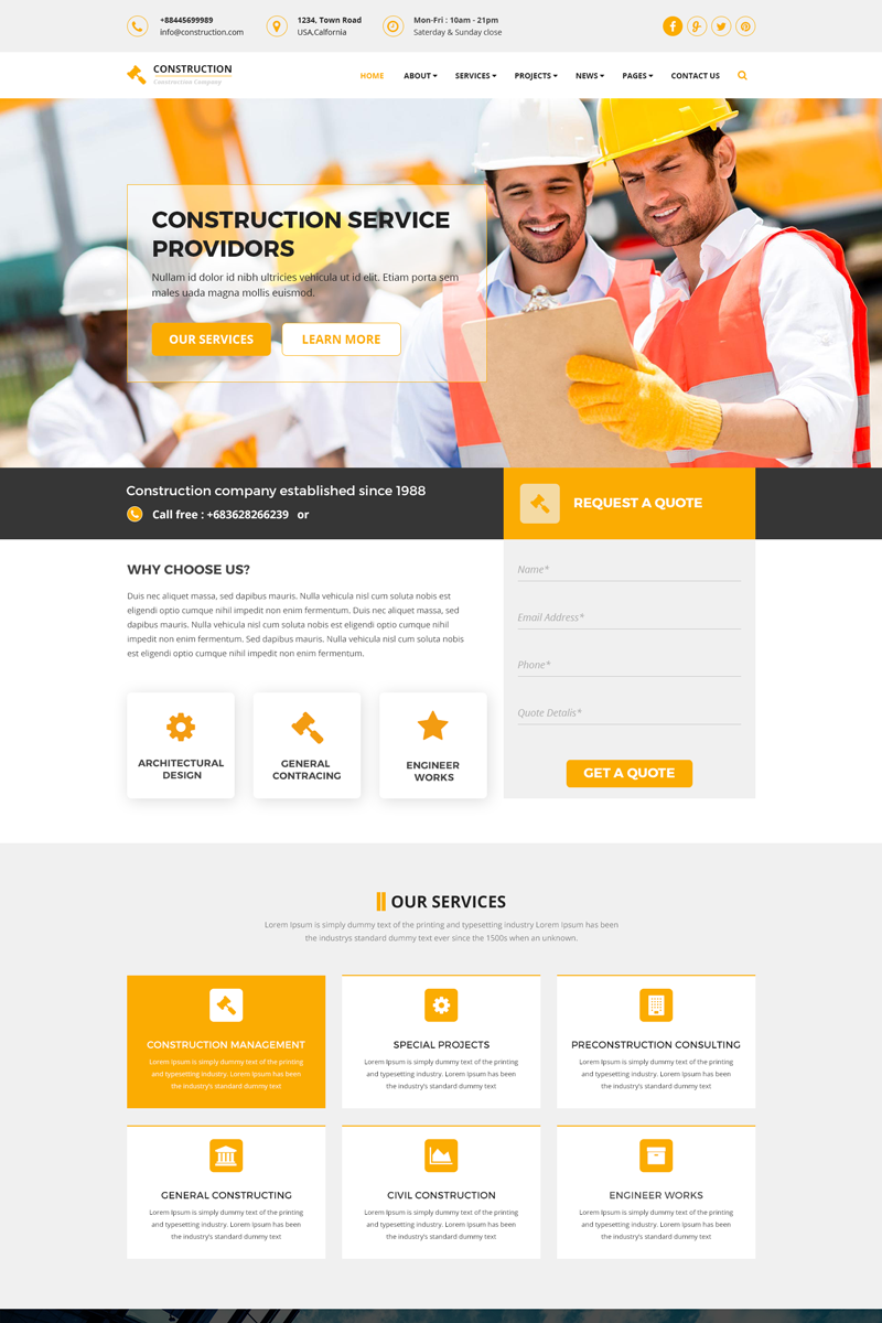 Responsivt Construction - Construction & Building PSD-mall #68926