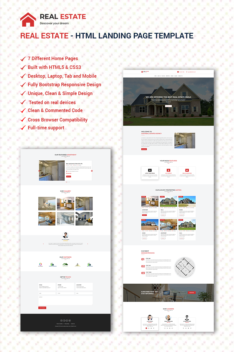 Responsivt REAL ESTATE Landing Page-mall #68906