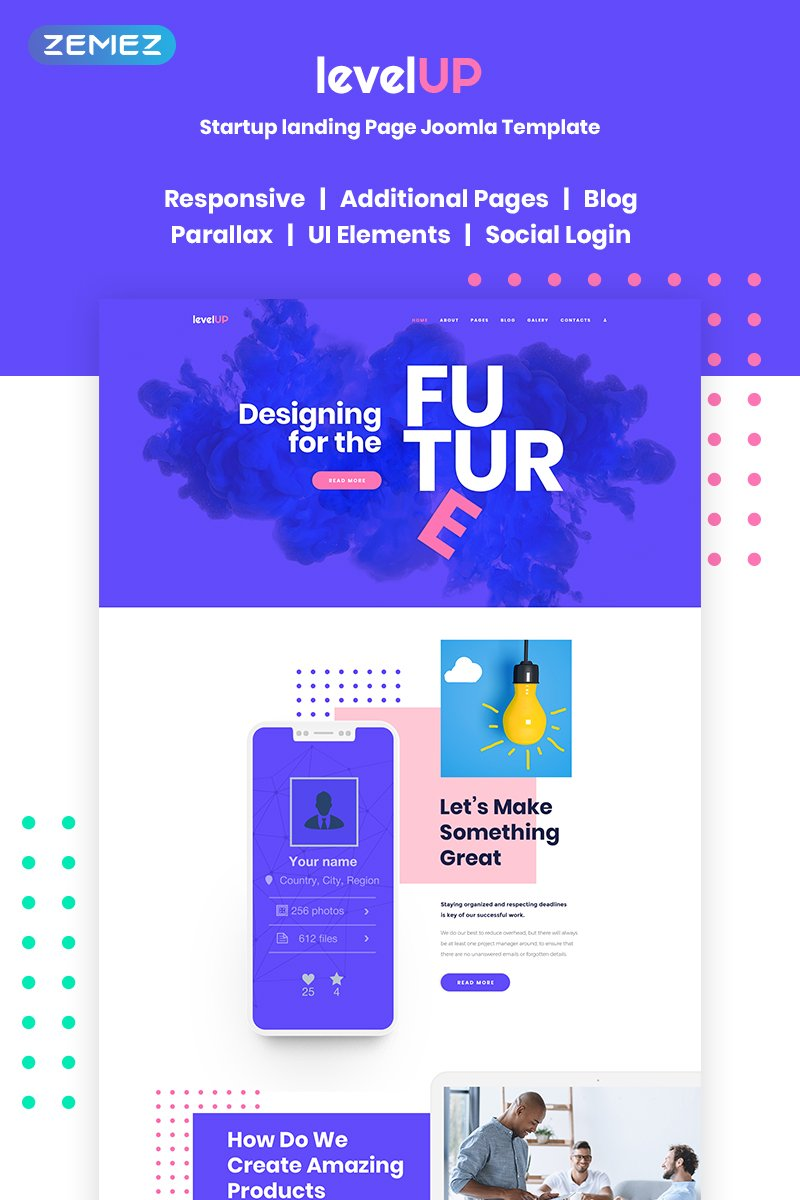 Responsywny szablon Joomla LevelUp - Startup Company Landing Page #68904