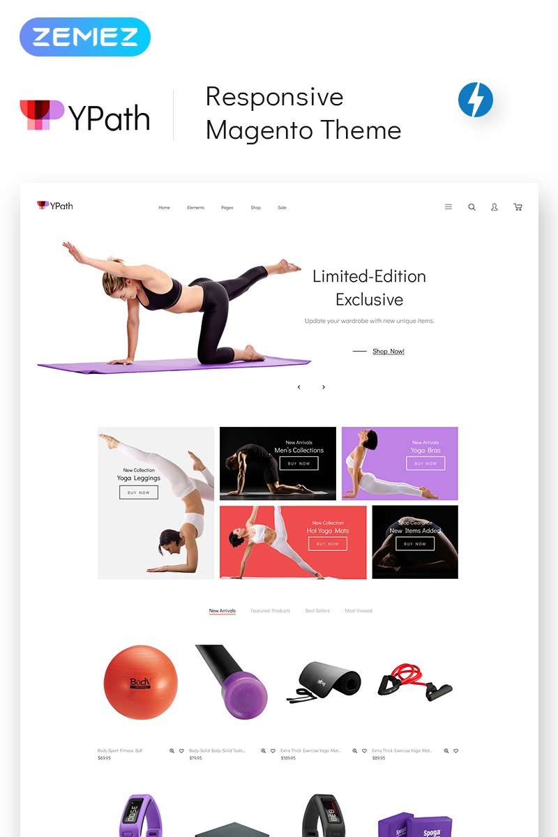 """Template Magento Responsive #68956 """"YPath - AMP Yoga Store"""""""
