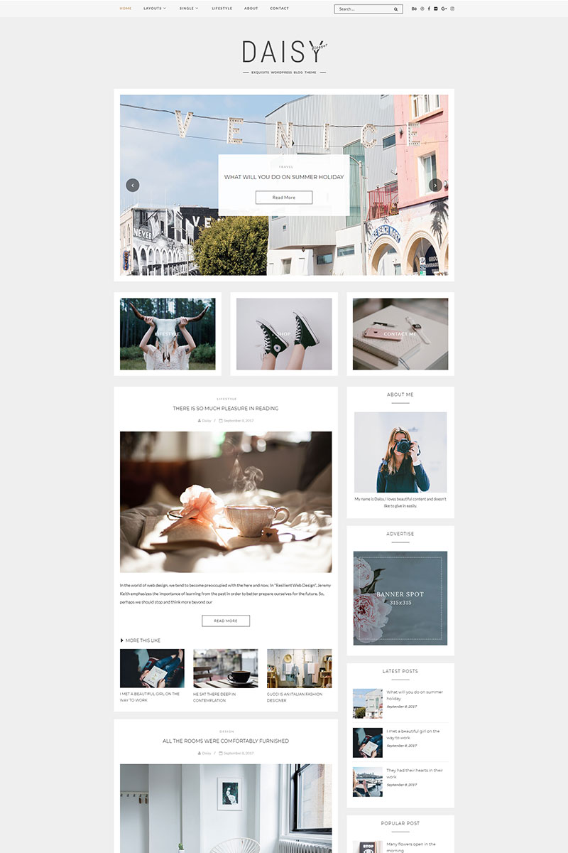 Website Design Template 69077 - clean wordpress exquisite elegant elegance simple clear slider gallery seo mobile responsive personal travel lifestyle