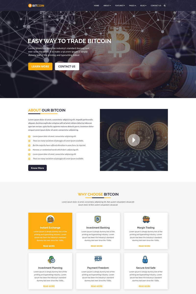 BITCOIN - Cryptocurrency & Bitcoin PSD Template