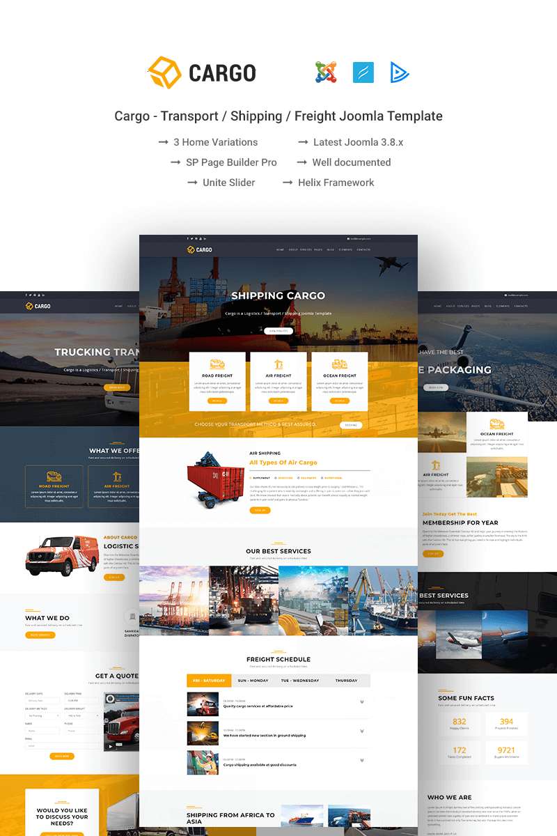"""Cargo - Transport / Shipping / Freight"" - адаптивний Joomla шаблон №69018"