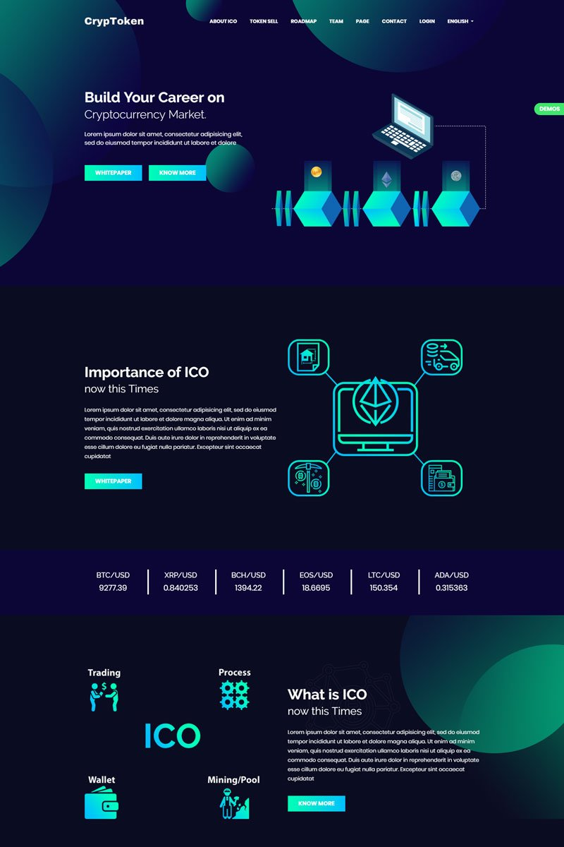 cryptoken cryptocurrency ico template website template. Black Bedroom Furniture Sets. Home Design Ideas