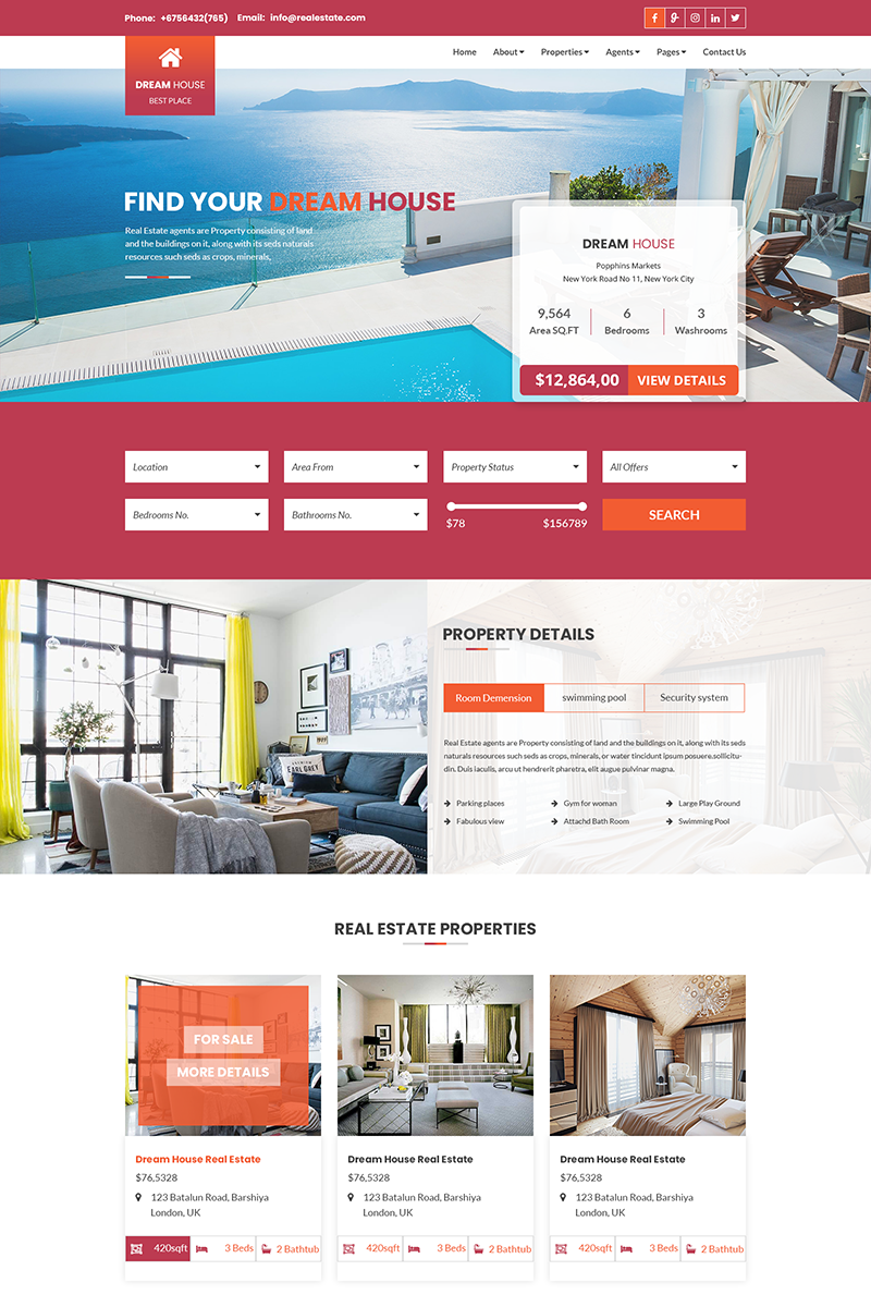 Dream House - Real Estate Business PSD Template