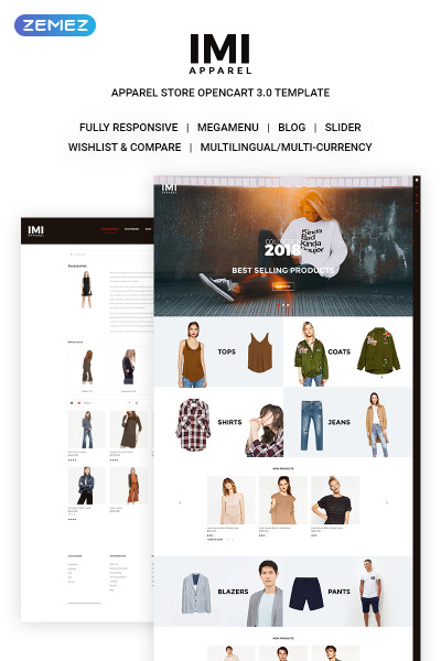 Thème OpenCart adaptatif  pour site de mode