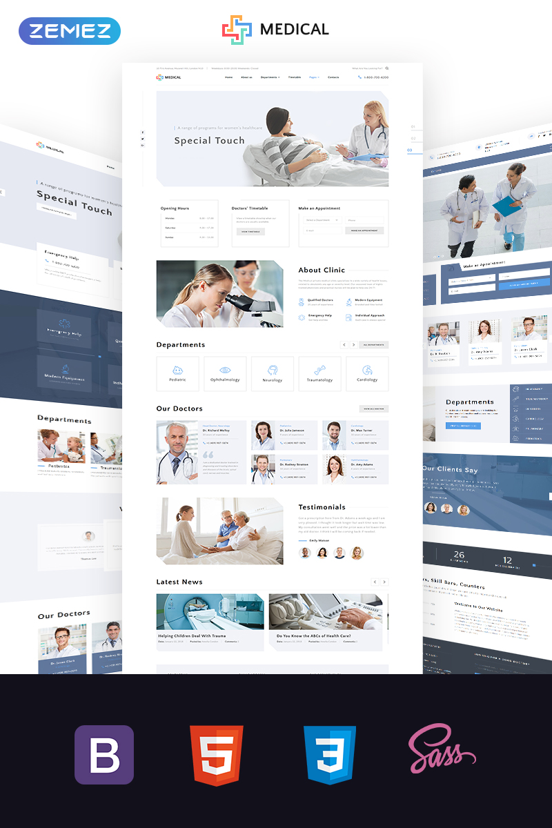 """Medical  - Private Medical Center Multipage"" 响应式网页模板 #69084"