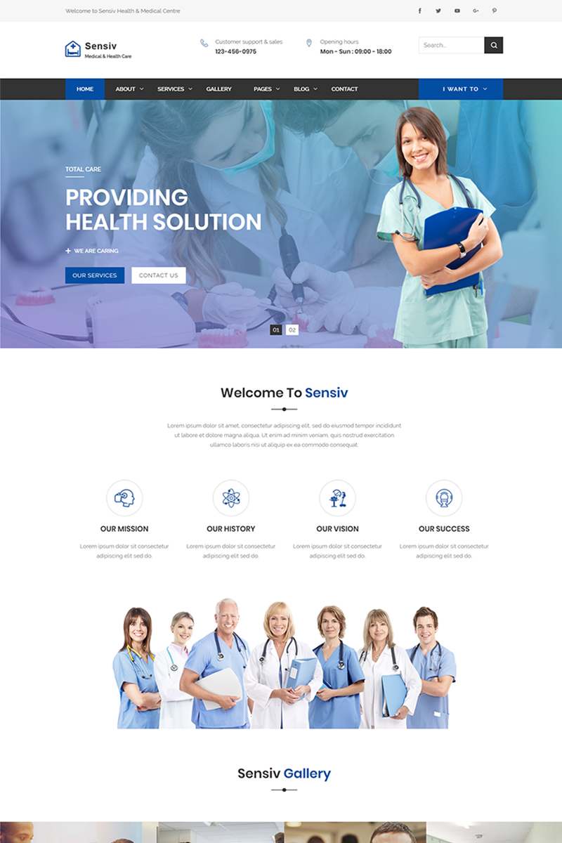 Reszponzív Sensiv - Responsive Health And Medical Weboldal sablon 69076