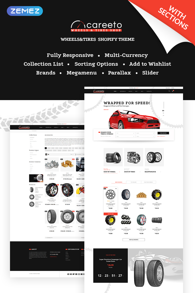 "Tema Shopify ""Careeto - Fancy Car Parts Online Store"" #69062"